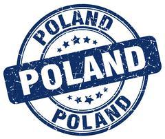 Poland blue grunge round vintage rubber stamp Stock Illustration