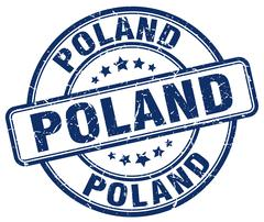 Poland blue grunge round vintage rubber stamp - stock illustration