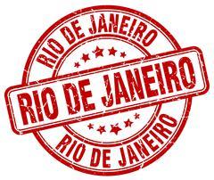 Rio De Janeiro red grunge round vintage rubber stamp - stock illustration