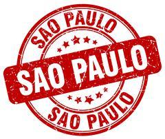 Sao Paulo red grunge round vintage rubber stamp - stock illustration
