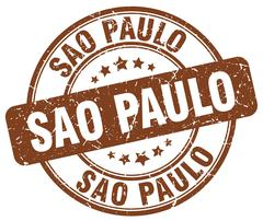 Sao Paulo brown grunge round vintage rubber stamp - stock illustration