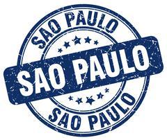 Sao Paulo blue grunge round vintage rubber stamp - stock illustration