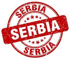 Serbia red grunge round vintage rubber stamp Stock Illustration
