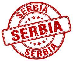 Serbia red grunge round vintage rubber stamp - stock illustration