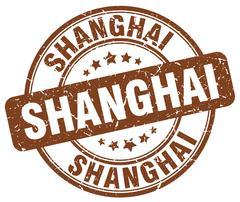 Shanghai brown grunge round vintage rubber stamp - stock illustration