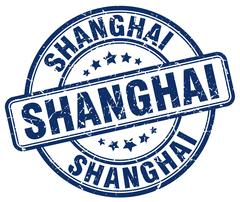 Shanghai blue grunge round vintage rubber stamp - stock illustration