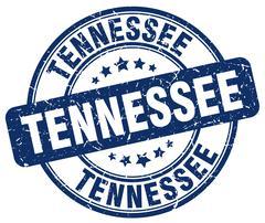 Tennessee blue grunge round vintage rubber stamp - stock illustration