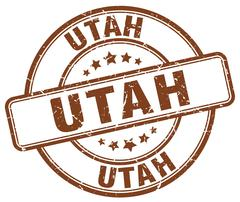 Utah brown grunge round vintage rubber stamp Stock Illustration