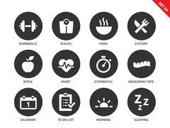 Fitness icons on white background - stock illustration