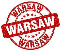 Warsaw red grunge round vintage rubber stamp - stock illustration
