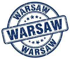Warsaw blue grunge round vintage rubber stamp - stock illustration