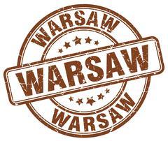 Warsaw brown grunge round vintage rubber stamp - stock illustration