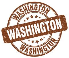 Washington brown grunge round vintage rubber stamp - stock illustration