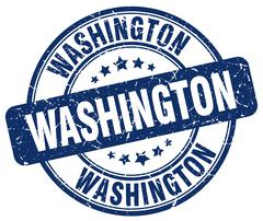 Washington blue grunge round vintage rubber stamp - stock illustration