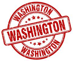 Washington red grunge round vintage rubber stamp - stock illustration