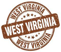 West Virginia brown grunge round vintage rubber stamp - stock illustration