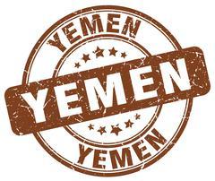 Yemen brown grunge round vintage rubber stamp Stock Illustration