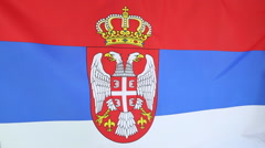 Closeup of national flag of Serbia Stock Footage