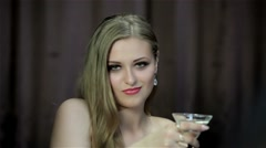 Sexy girl with a martini glass - stock footage
