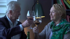 happy elderly couple drinking wine, talking and smiling - stock footage