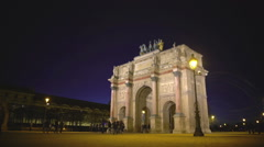 Paris guests viewing Arc de Triomphe du Carrousel, sightseeing tour to France Stock Footage