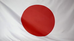 Textile flag of Japan in slow motion Stock Footage