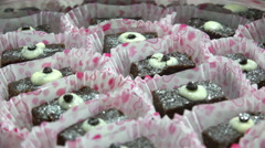 Brownie  chocolate cakes rotating background Stock Footage