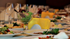 Banquet table movement Stock Footage