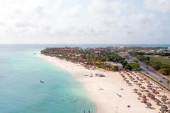 Aerial at Manchebo beach on Aruba island in the Caribbean - stock photo
