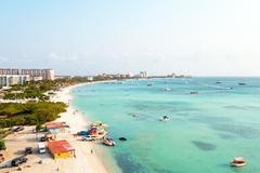 Aerial from Palm beach at Aruba in the Caribbean Sea Stock Photos