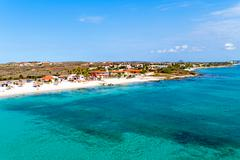 Aerial from Boca Catalina on Aruba island in the Caribbean Sea Stock Photos