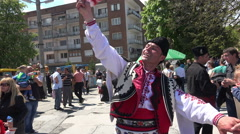 The folklore group from Bulgaria dressed in traditional clothing is preforming B Stock Footage
