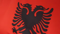 Closeup of a textile flag of Albania - stock footage