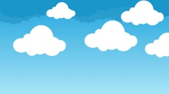 Cute and Puffy Cartoon Clouds Hovering in a Beautiful Blue Sky - stock footage