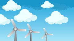 Wind Energy Power Windmills on a Blue Sky and Clouds Illustration - stock footage