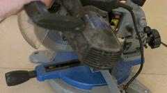 Close-Up of a Circular Saw at Work. Man Sawing Bar Stock Footage