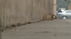 Traps for rats on Shanghai roads, zoom out shoot - stock footage