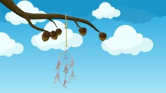 Dreamcatcher Dream catcher Hanging From a Tree Branch Moving in the Wind Stock Footage