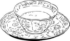 Outlined Chinese Teacup and Saucer - stock illustration