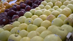 Assorted apples at market - fruit vegetable stand Stock Footage