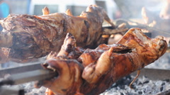 Pig grill Meat BBQ festival Stock Footage