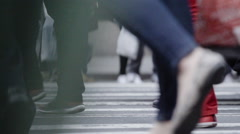 Crowded New York City Crosswalk - closeup - slow motion - stock footage
