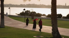 People walking in a park, in a Muslim country 02 Stock Footage