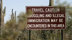US Illegal Immigration Warning sign Stock Footage
