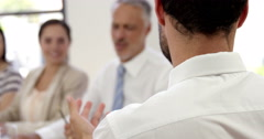Business people applauding together Stock Footage
