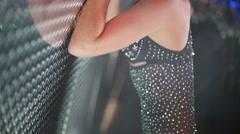 Beautiful brunette in burlesque costume - stock footage