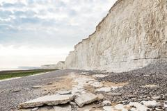 Popular white cliff Birling Gap coast, West Sussex, England, United Kingdom Stock Photos