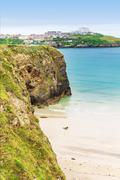 Popular St Agnes and Chapel Porth Atlantic ocean coast, Cornwall Stock Photos