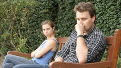 Unhappy upset couple are fighting and having relationship difficulties - stock footage