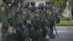 Line of Riot Police at Donald Trump Rally - Anaheim, CA - May 25th, 2016 Stock Footage